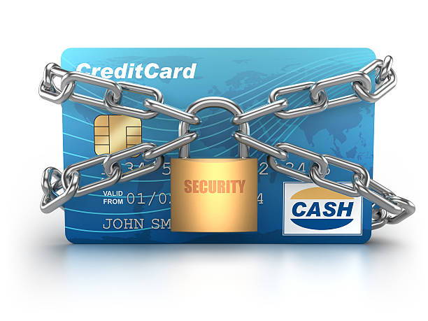 credit card chained with padlock - isolated / clipping path - chain object stock photos and pictures
