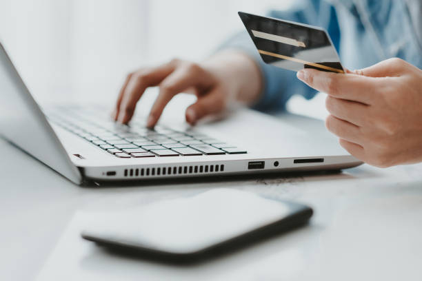 credit card for online shopping or make a payment online stock photo