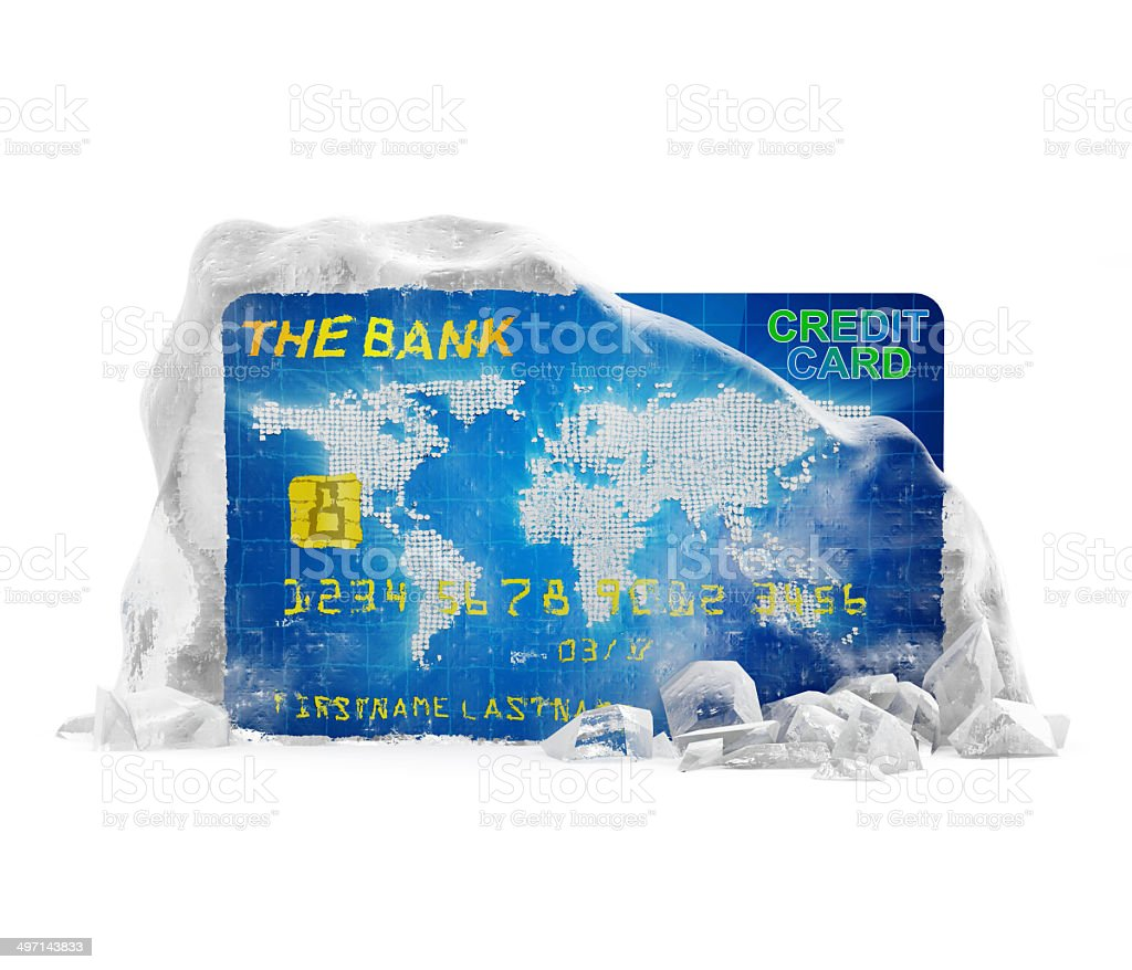 Credit Card in Broken Solid Ice Block stock photo