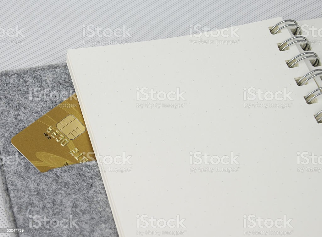 credit card in spiral notebook royalty-free stock photo