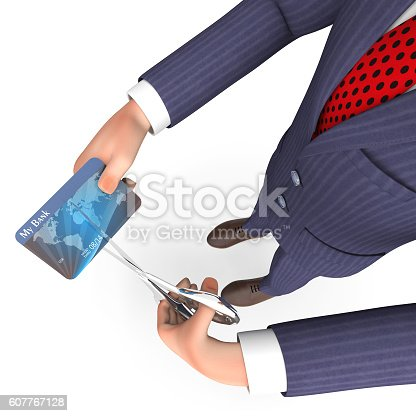 Credit Card Meaning Business Person And Loan 3d Rendering