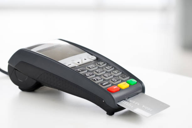 Credit card machine, payment for online shopping – Foto