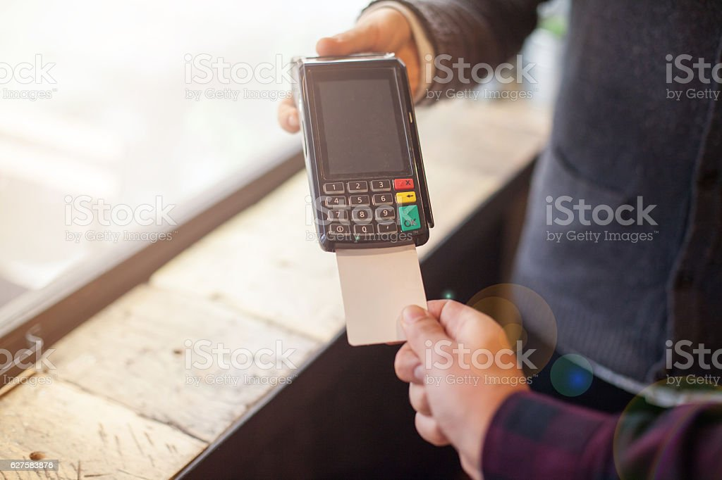 Credit card machine payment stock photo