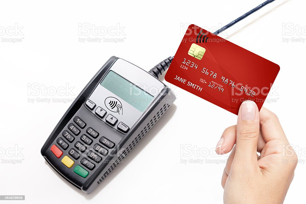 Credit Card machine with wireless contact credit card stock photo