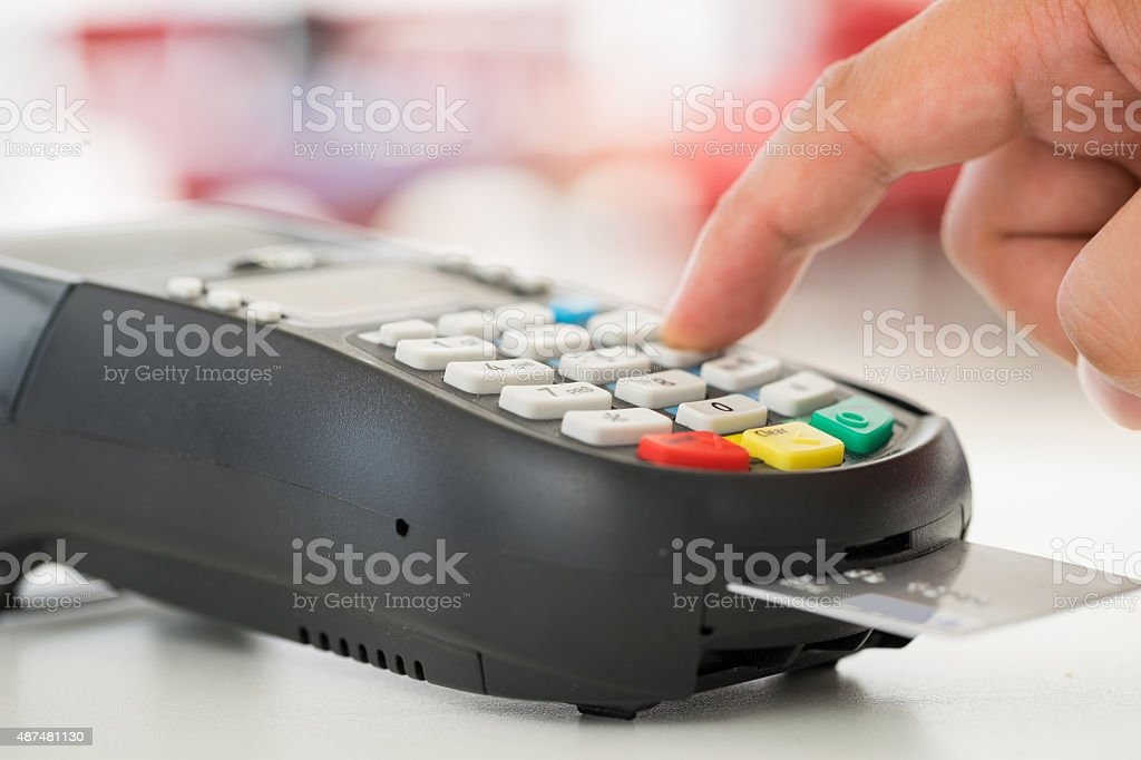 Credit card payment, buy and sell products & service stock photo