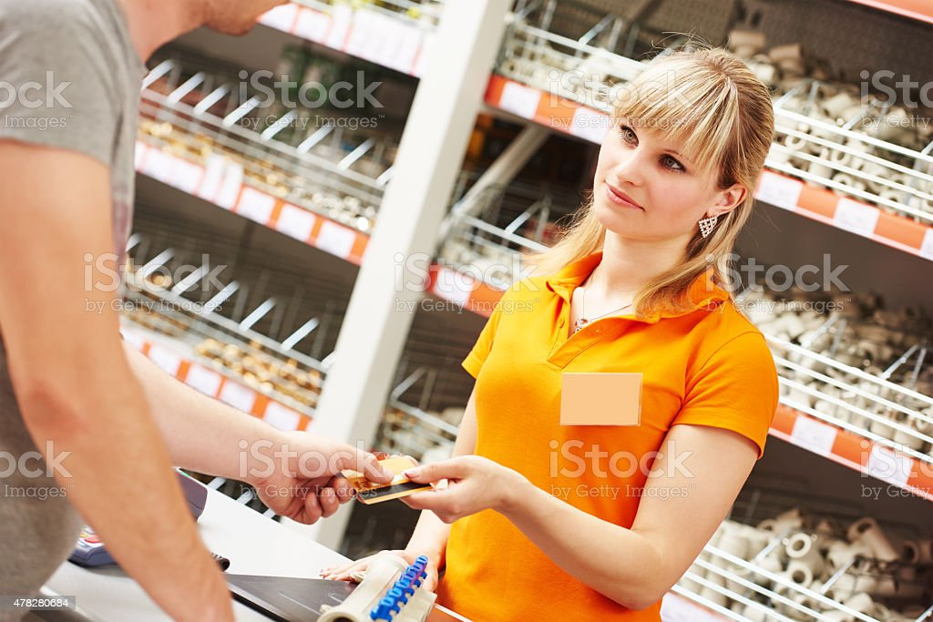 credit card payment in shop stock photo