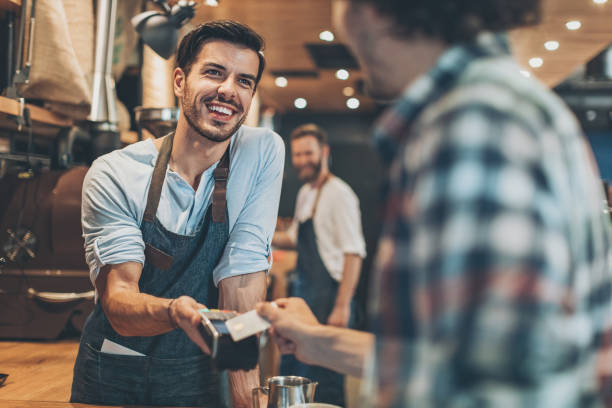 Credit card payment in the coffee shop stock photo
