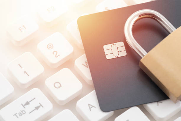 Credit card payment security stock photo
