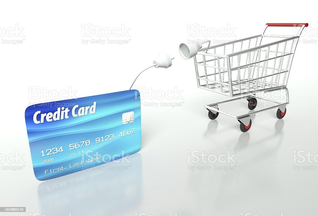 Credit card payment with shopping cart royalty-free stock photo