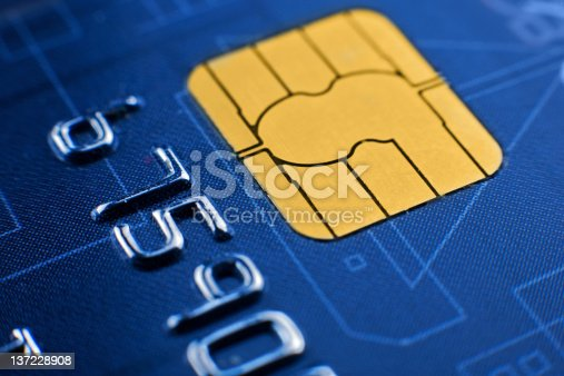 Close up shot of microchip on credit card