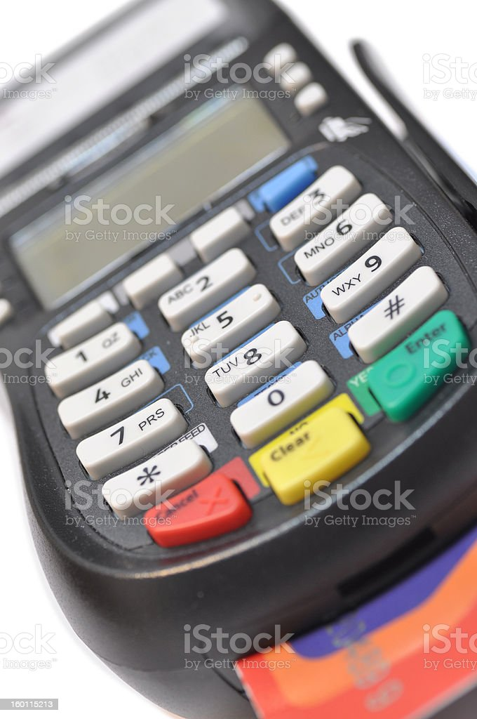 Credit card reader isolated against white background royalty-free stock photo