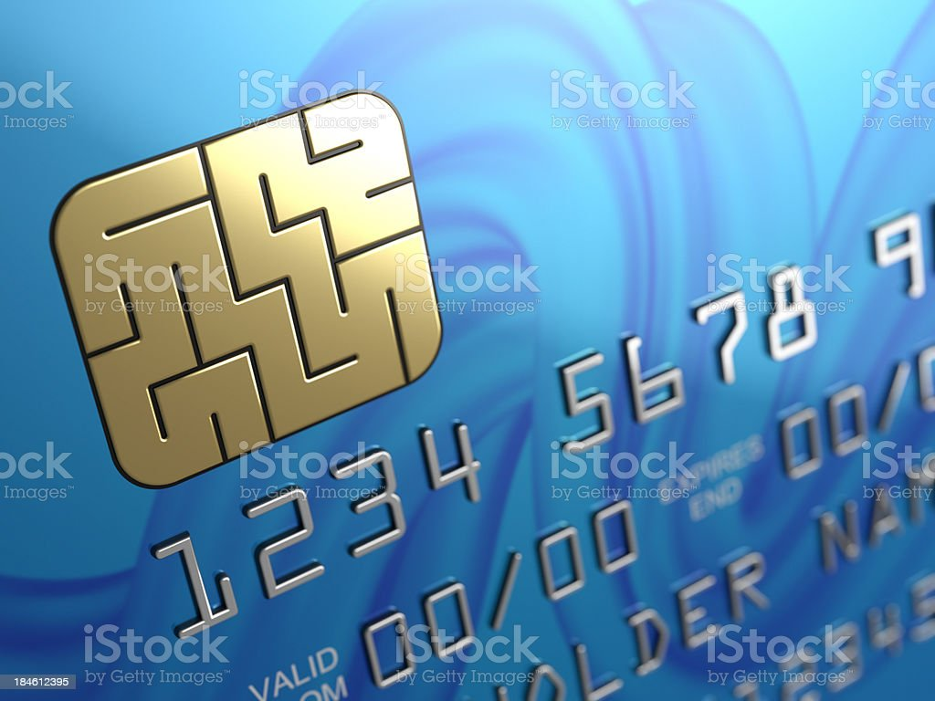 Credit card security chip maze stock photo