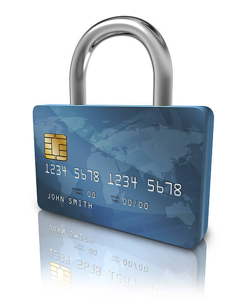Credit card security lock stock photo