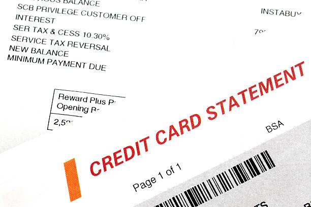 Credit card statement stock photo