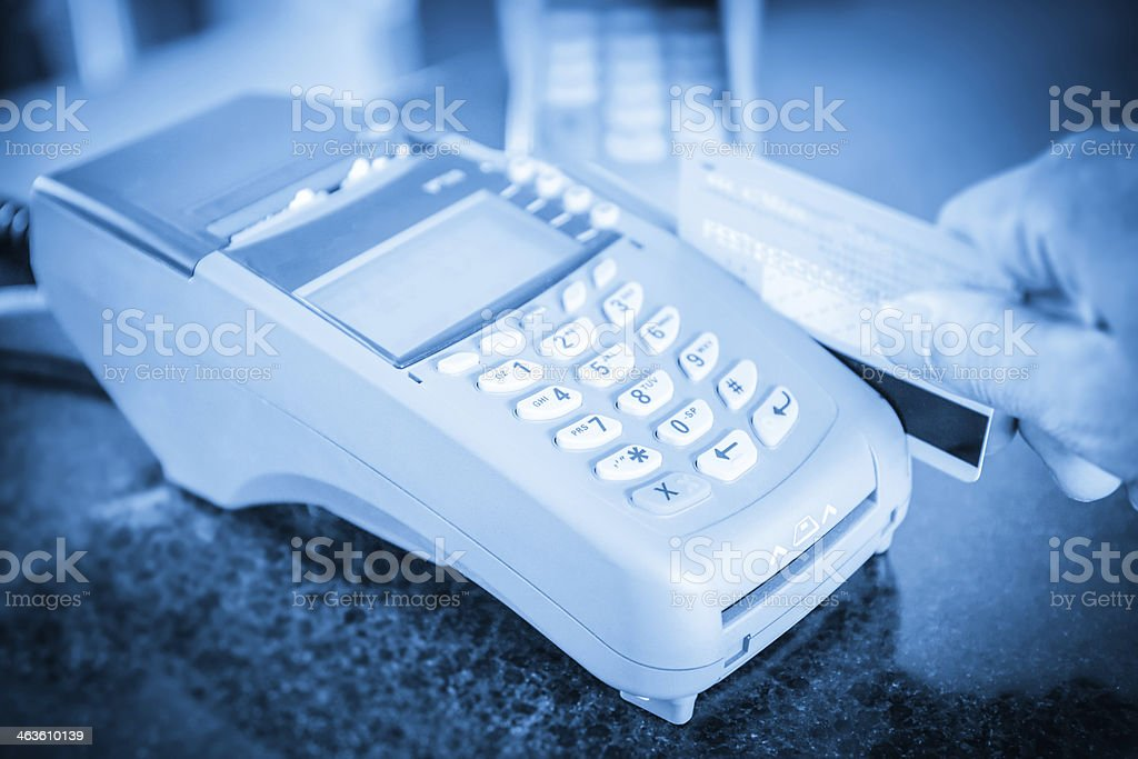 credit card swipe through terminal for sale stock photo