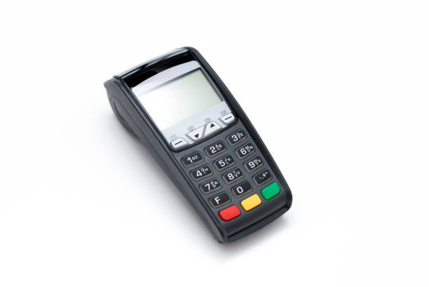 Credit card terminal on white background stock photo