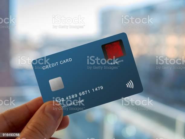 Credit Card With A Fingerprint Sensor Stock Photo - Download Image Now