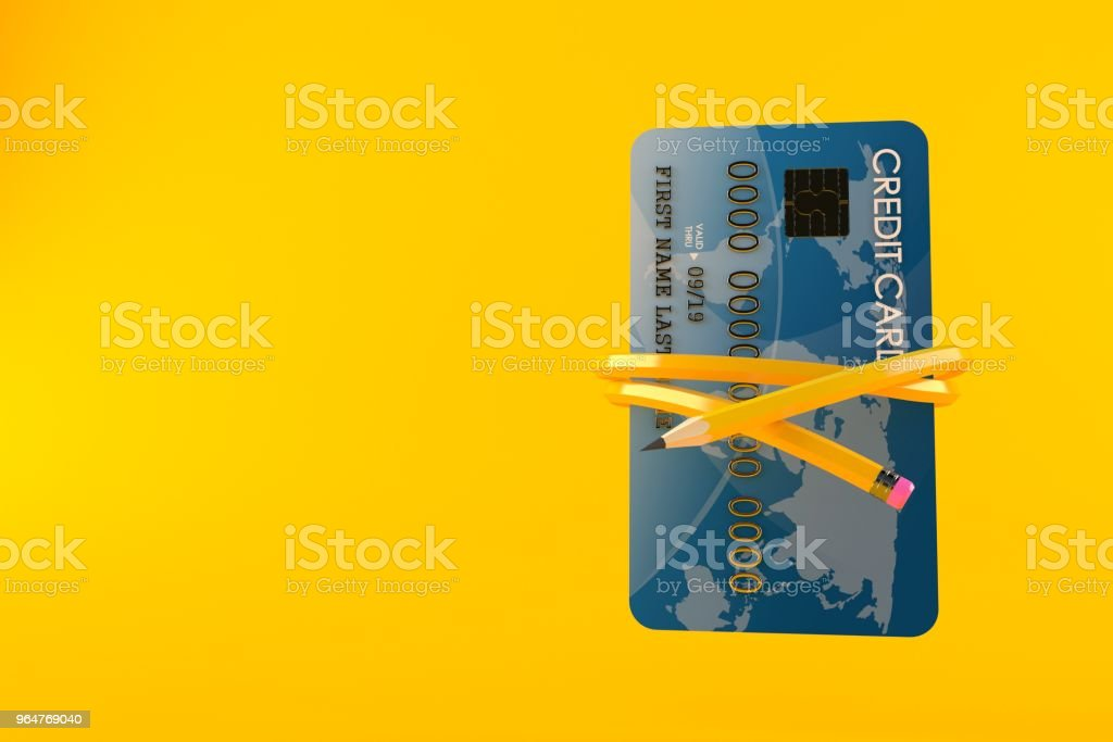 Credit card with pencil royalty-free stock photo