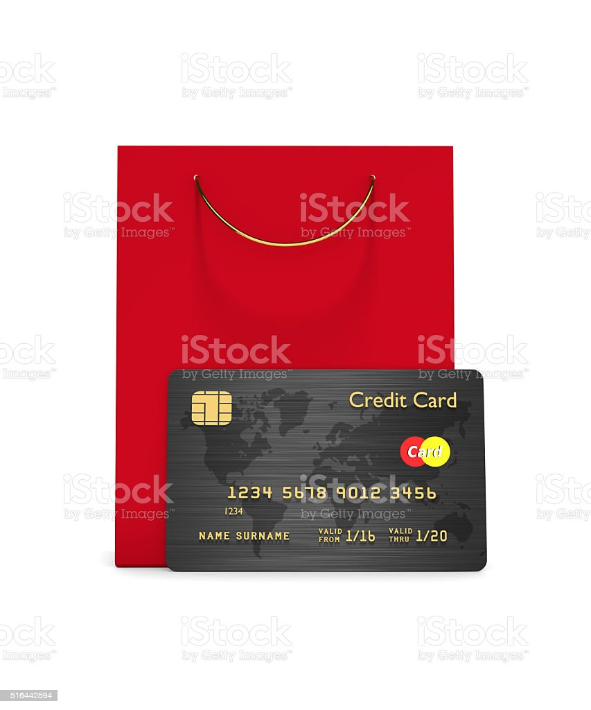 credit card with shopping bag isolated over white stock photo