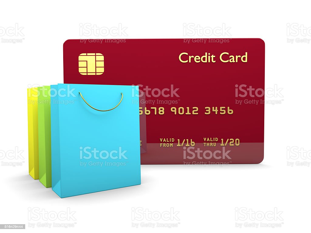 credit card with shopping bags isolated over white stock photo