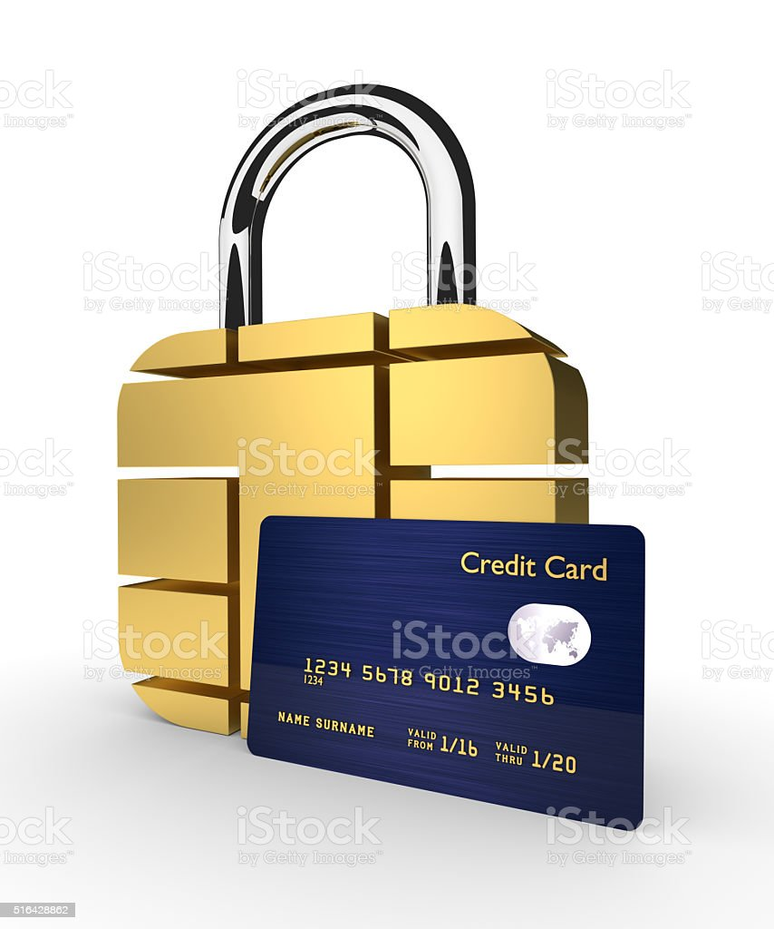credit card with sim padlock isolated over white background stock photo