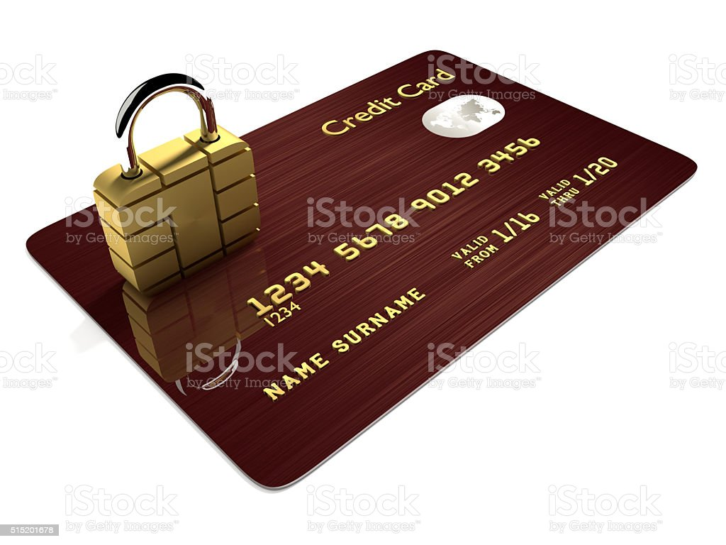credit card with sim padlock isolated over white stock photo