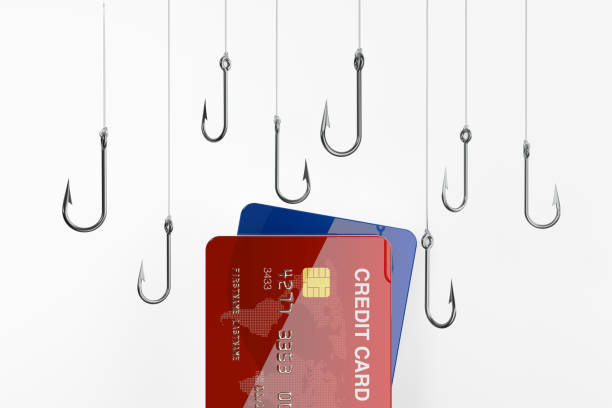credit cards and fishing hooks - credit card security and phishing concept - phishing stock photos and pictures