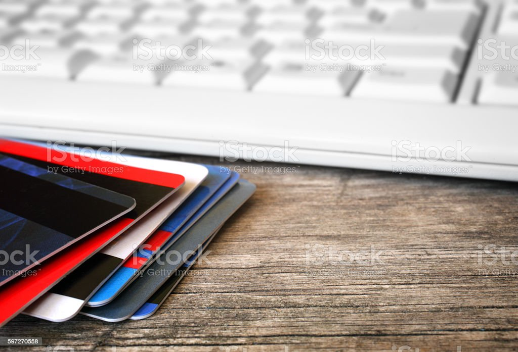 Credit cards and keyboard royalty-free stock photo
