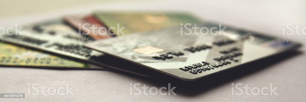 credit cards, close up view with selective focus. panorama. stock photo