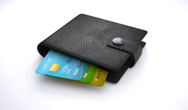 credit cards in leather wallet on white background. - portefeuille photos et images de collection