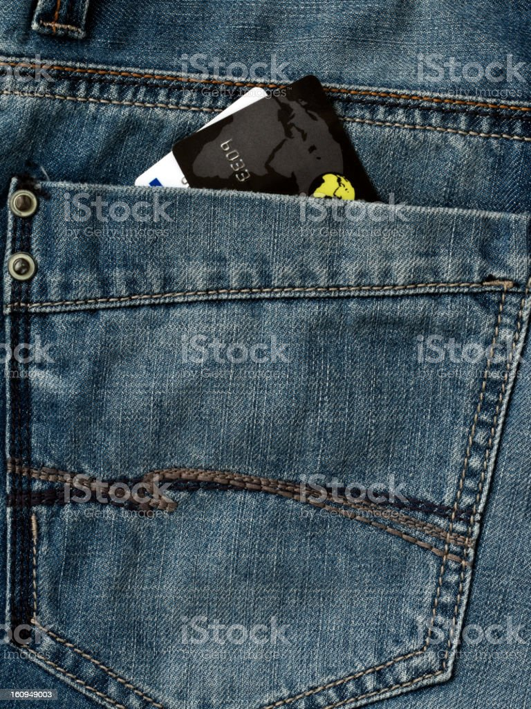 credit cards in the jeans pocket royalty-free stock photo