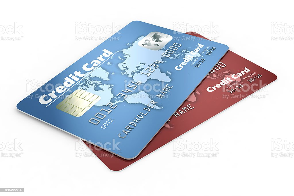 Credit cards isolated on white background stock photo
