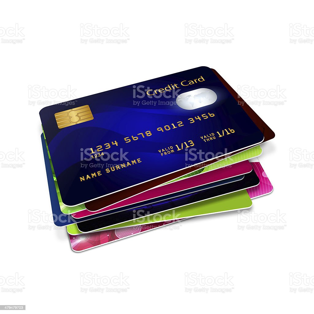 credit cards isolated over white stock photo