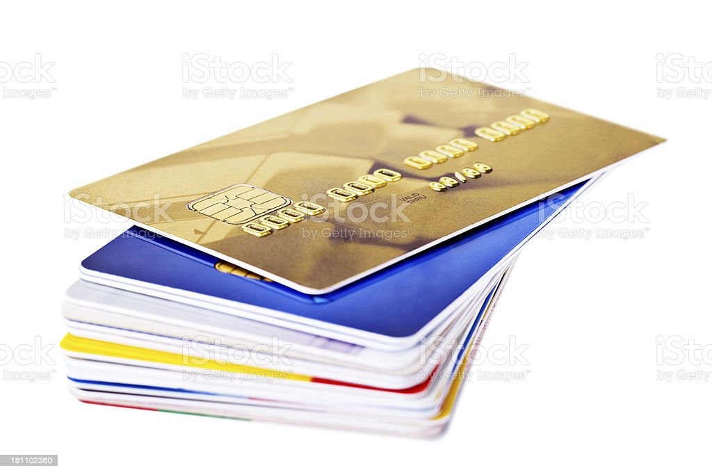 Credit Cards on a stack royalty-free stock photo