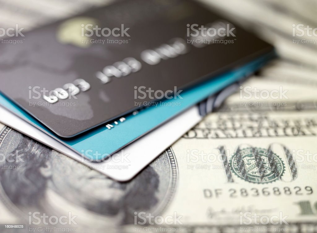 credit cards on dollars royalty-free stock photo