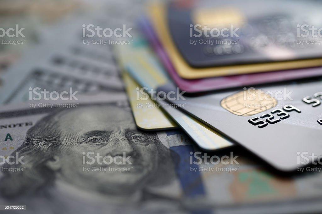 Tarjetas de crédito en dólares estadounidenses - foto de stock