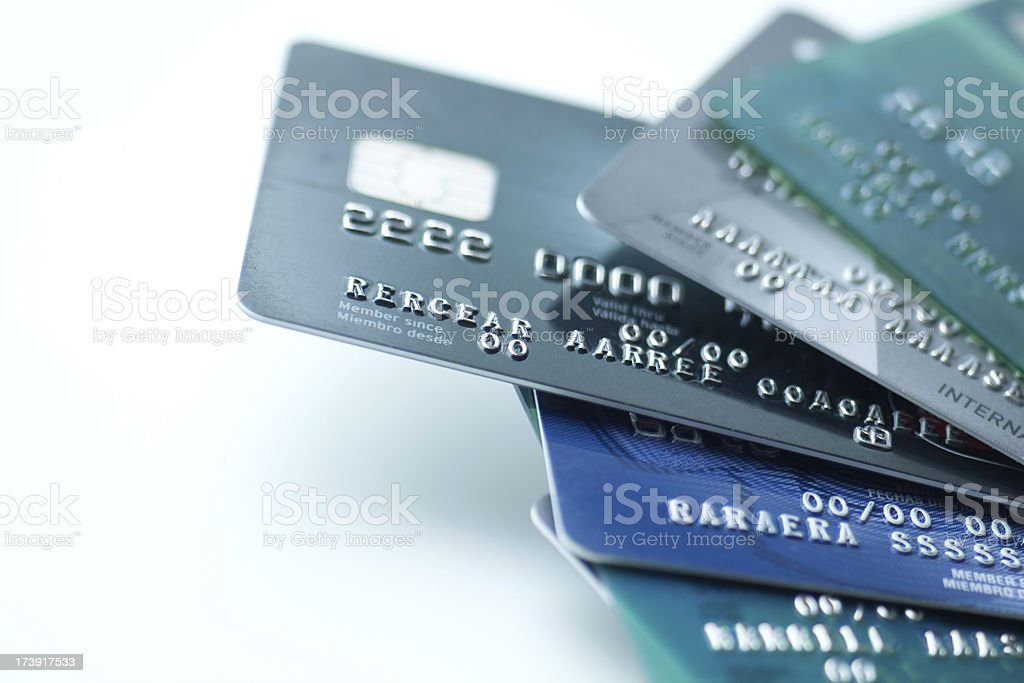 Credit cards on white background stock photo