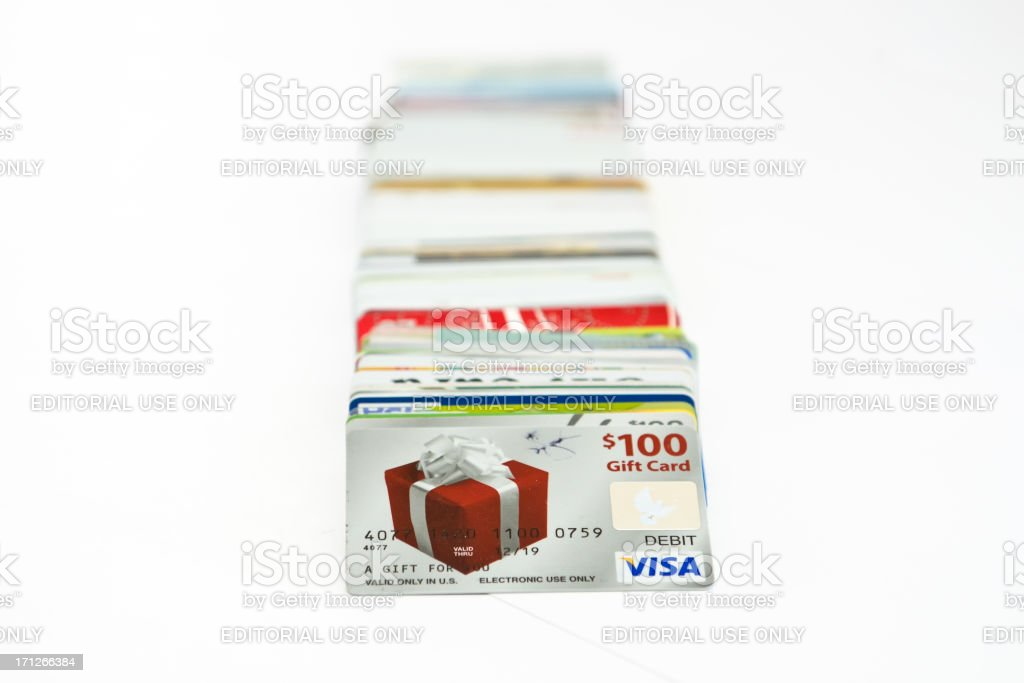 credit cards on white stock photo
