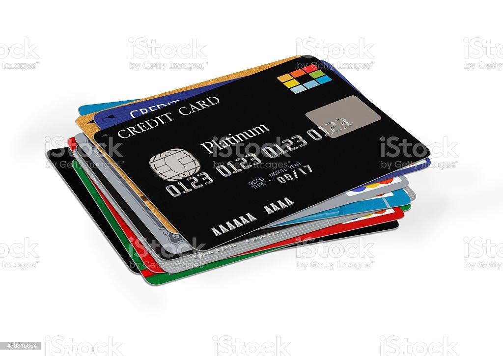 Pilha de Cartões de crédito em branco - foto de acervo
