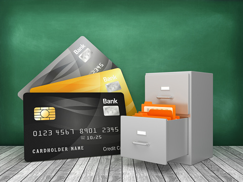 Credit Cards with Archives on Chalkboard - 3D Rendering