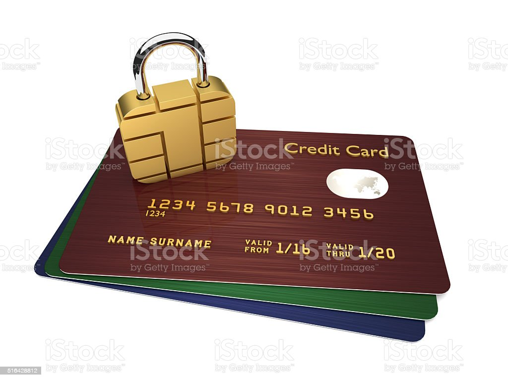 credit cards with sim padlock isolated over white background stock photo