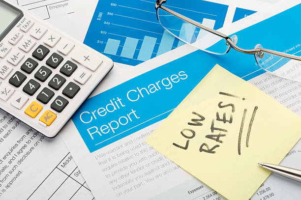 Credit charges report form with low rates Credit charges report form with low rates note and paperwork borrowing stock pictures, royalty-free photos & images