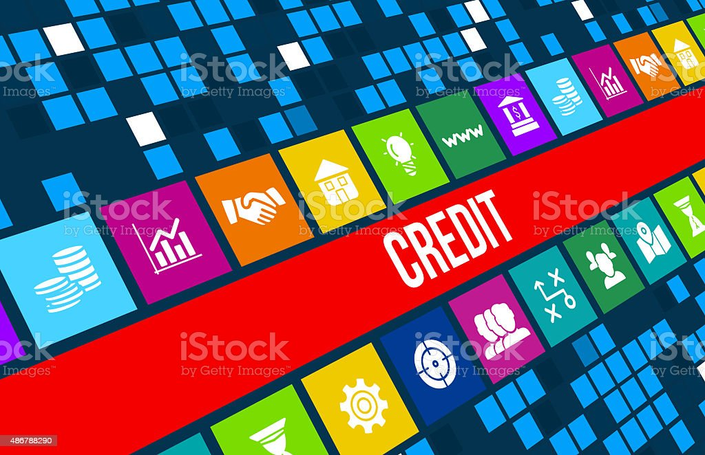 Credit  concept image with business icons and copyspace. stock photo