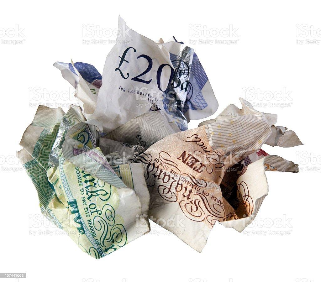 Credit crunch - crumpled British bank notes royalty-free stock photo