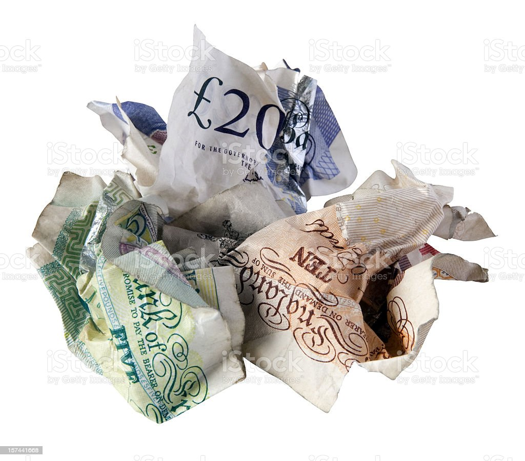 Credit crunch - crumpled British bank notes stock photo