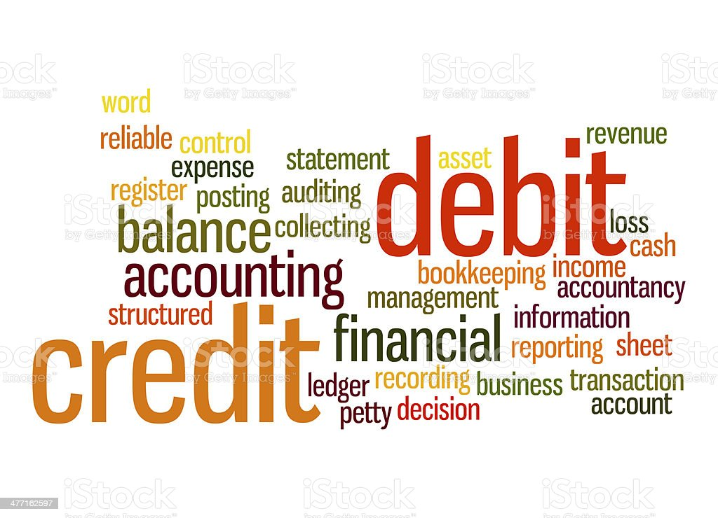 Credit debit word cloud royalty-free stock photo