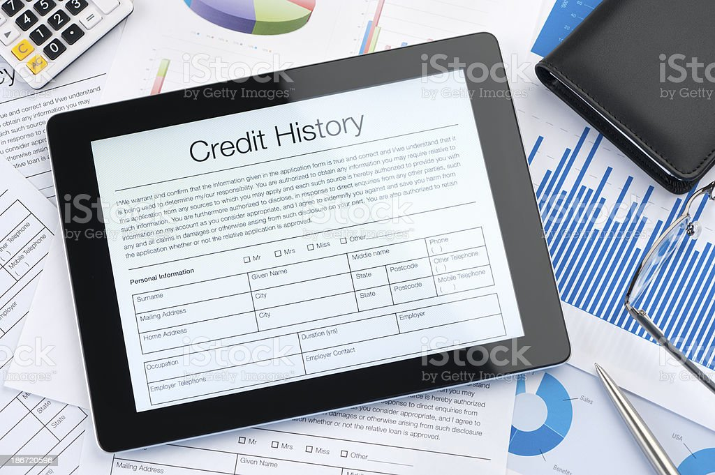 Credit history form on a digital tablet stock photo