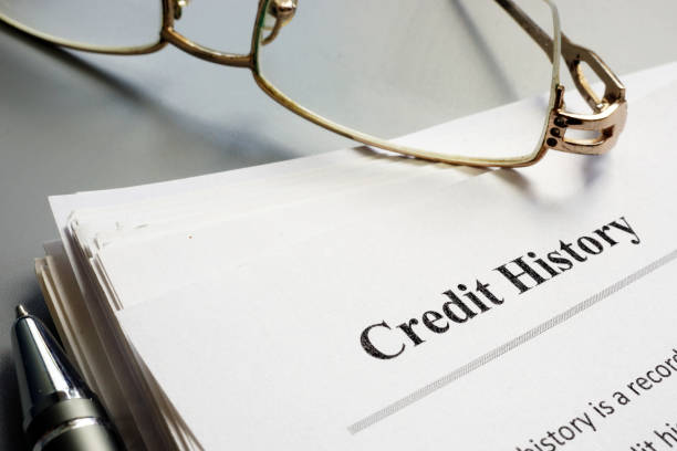 Credit history report papers and pen. stock photo
