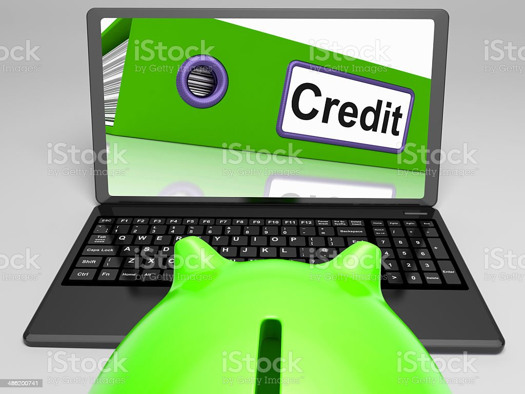 Credit Laptop Means Online Lending And Repayments stock photo
