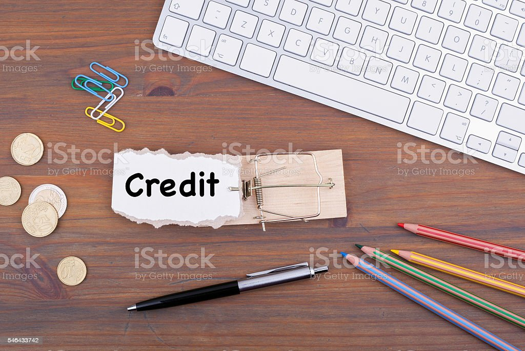 Credit. Mousetrap on the office desk. stock photo